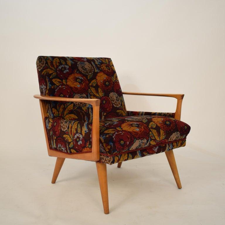 Midcentury Italian Armchairs in Beech and Upholstered Flower Velvet, 1950, Pair 3
