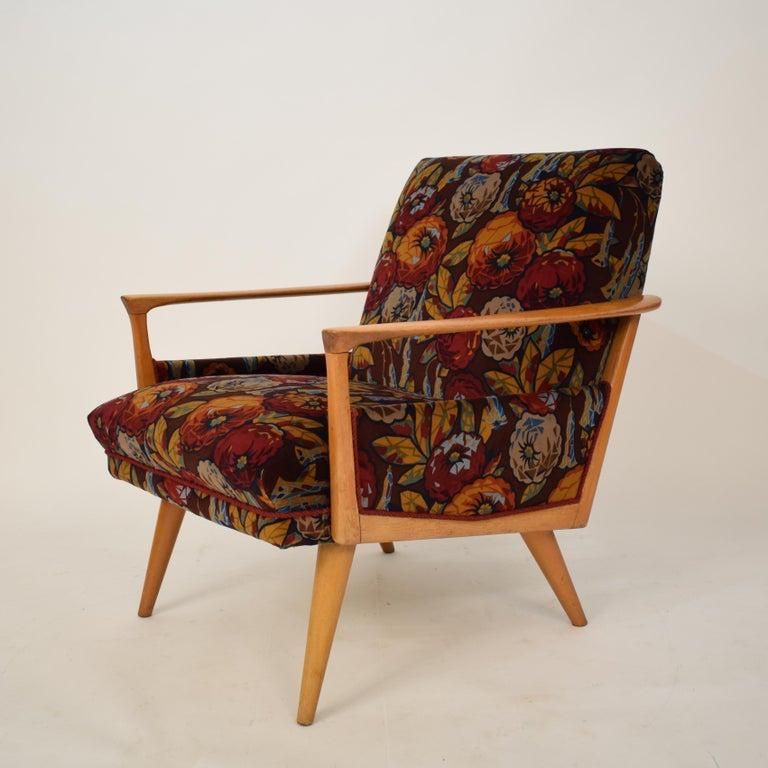 Midcentury Italian Armchairs in Beech and Upholstered Flower Velvet, 1950, Pair 4