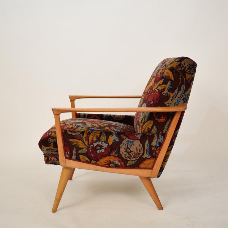 Midcentury Italian Armchairs in Beech and Upholstered Flower Velvet, 1950, Pair 5