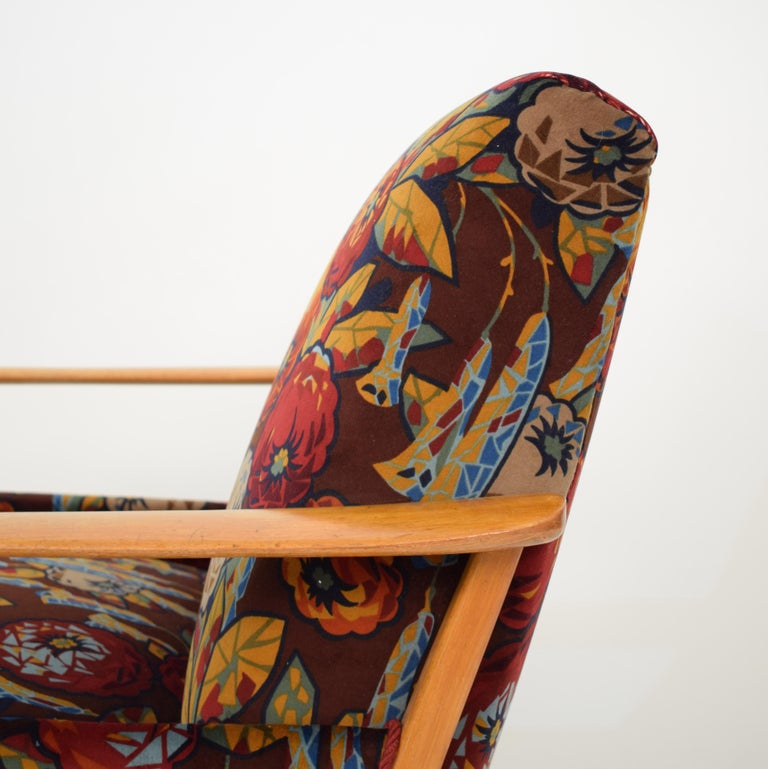 Midcentury Italian Armchairs in Beech and Upholstered Flower Velvet, 1950, Pair 6