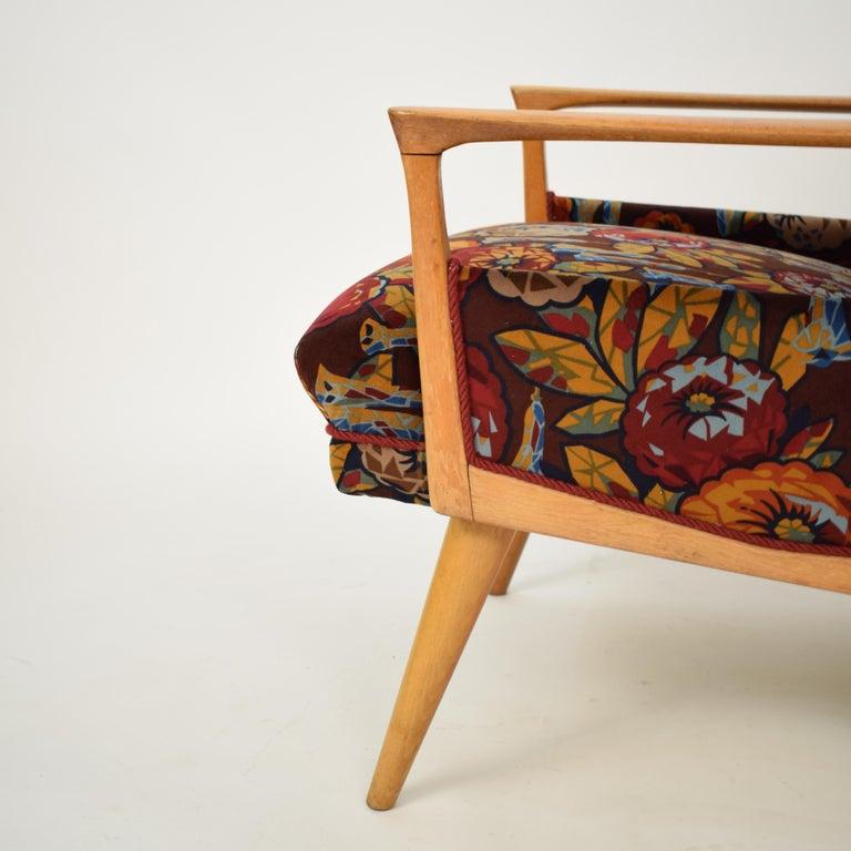 Midcentury Italian Armchairs in Beech and Upholstered Flower Velvet, 1950, Pair 7