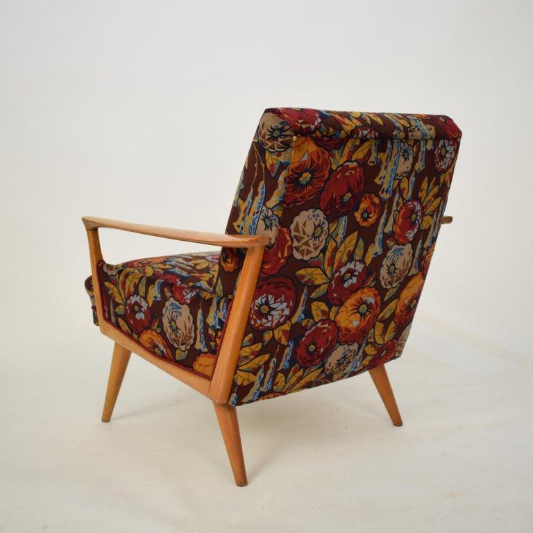 Midcentury Italian Armchairs in Beech and Upholstered Flower Velvet, 1950, Pair 8
