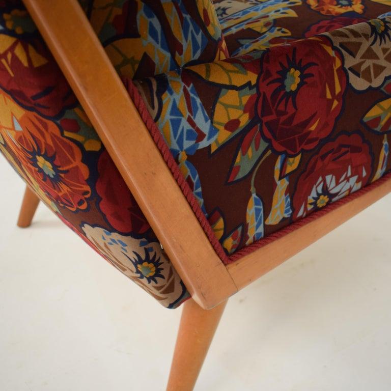 Midcentury Italian Armchairs in Beech and Upholstered Flower Velvet, 1950, Pair 10