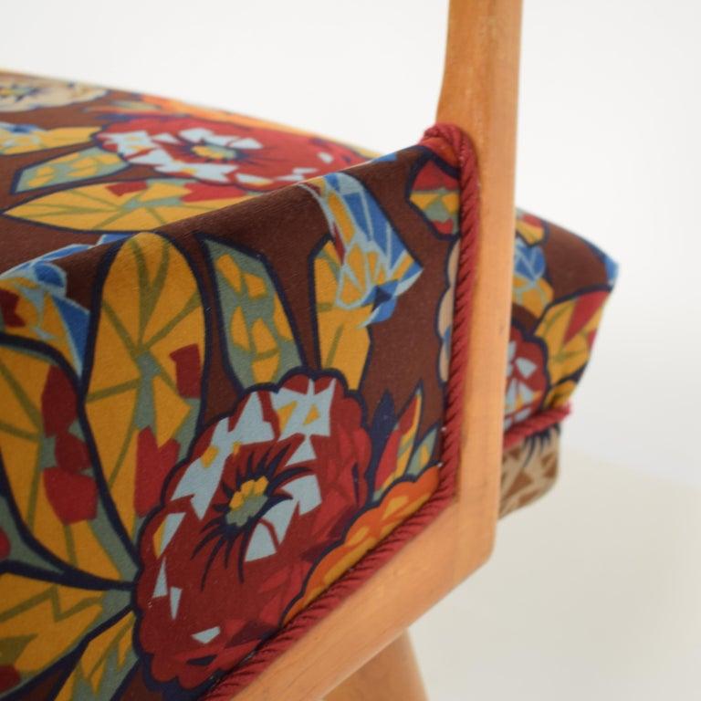 Midcentury Italian Armchairs in Beech and Upholstered Flower Velvet, 1950, Pair 11
