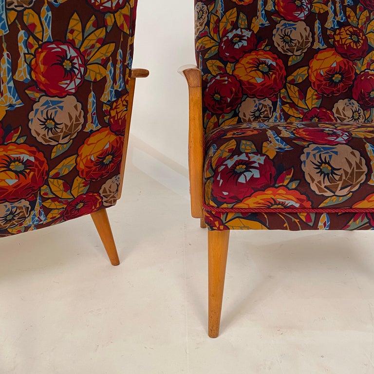Midcentury Italian Armchairs in Beech and Upholstered Flower Velvet, 1950, Pair 12