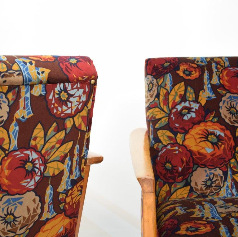 Mid-Century Modern Midcentury Italian Armchairs in Beech and Upholstered Flower Velvet, 1950, Pair