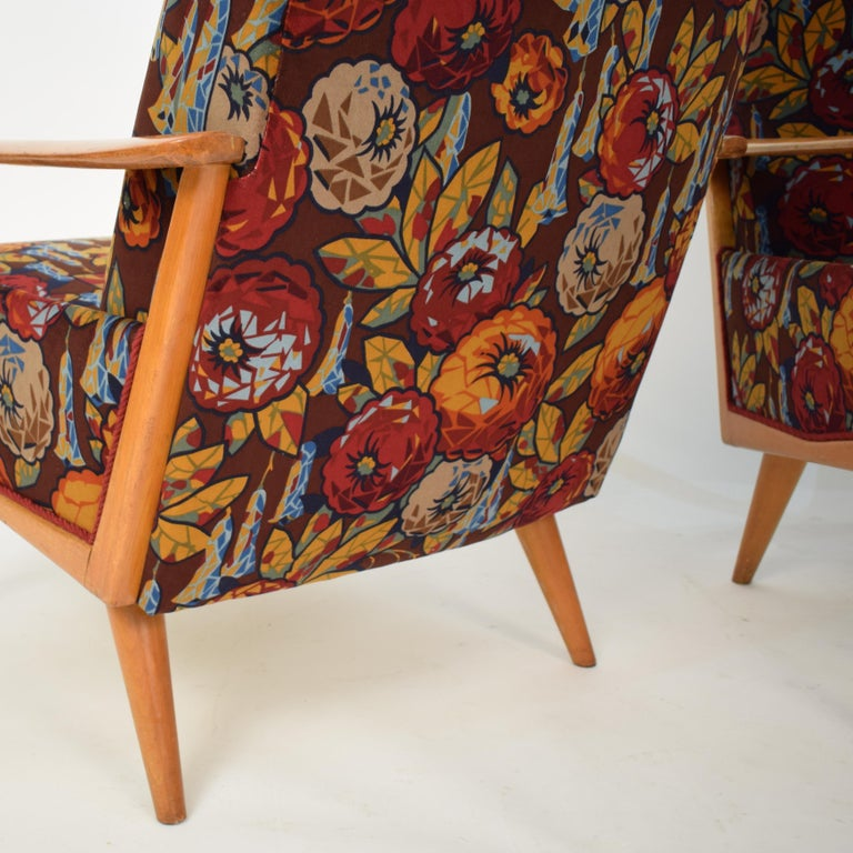 Lacquered Midcentury Italian Armchairs in Beech and Upholstered Flower Velvet, 1950, Pair