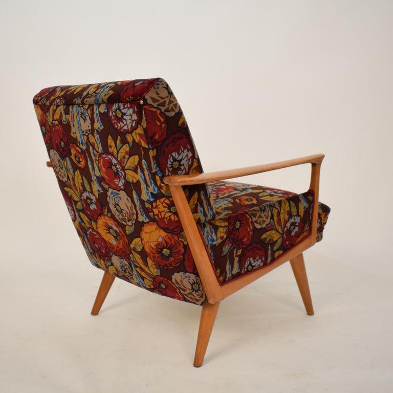 Mid-20th Century Midcentury Italian Armchairs in Beech and Upholstered Flower Velvet, 1950, Pair