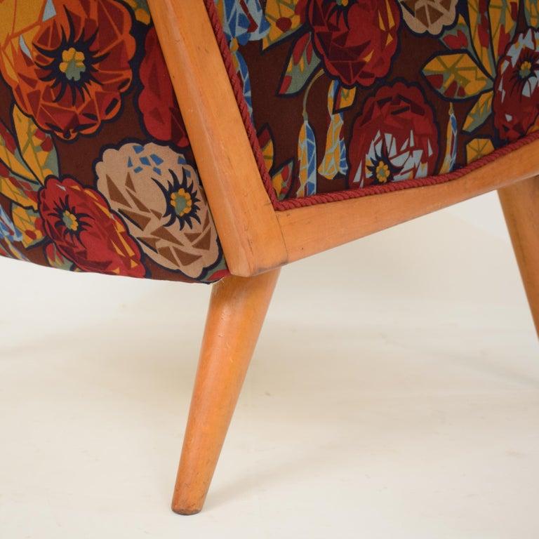 Upholstery Midcentury Italian Armchairs in Beech and Upholstered Flower Velvet, 1950, Pair