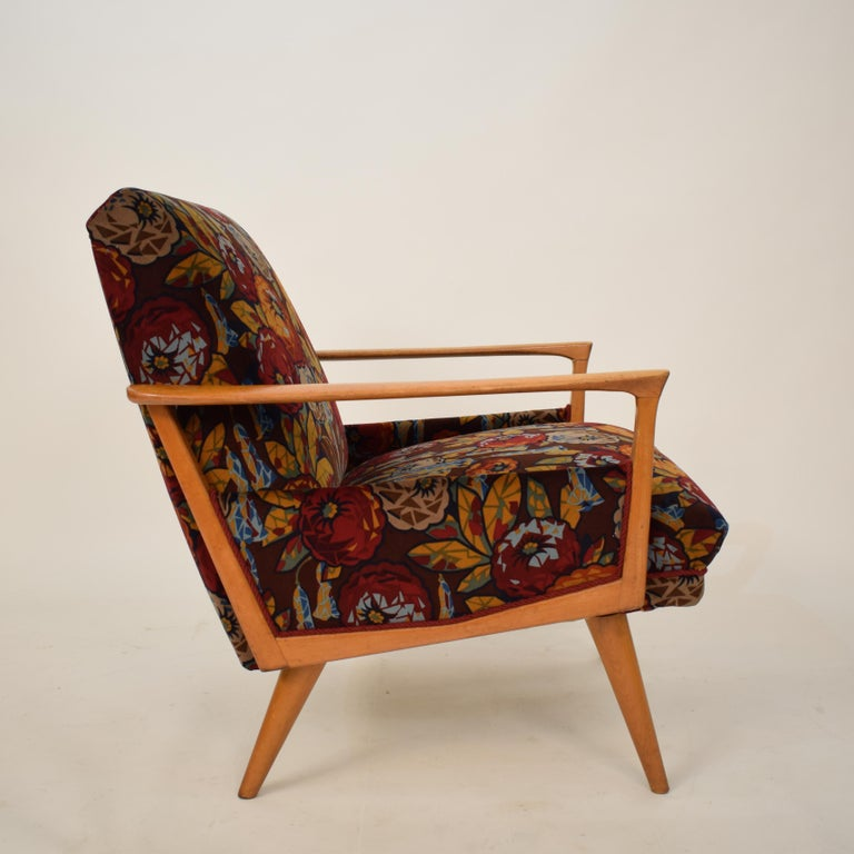 Midcentury Italian Armchairs in Beech and Upholstered Flower Velvet, 1950, Pair 2