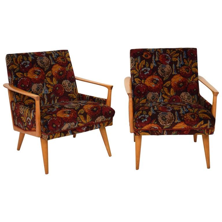 Midcentury Italian Armchairs in Beech and Upholstered Flower Velvet, 1950, Pair