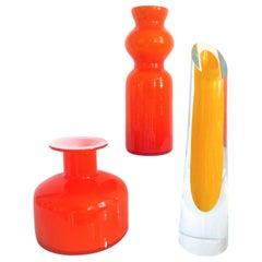 Pair of Midcentury Orange Kastrup Holmegaard Vases in Style of Pers Lutken 1950s