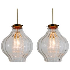 Pair of Midcentury Pendants, in Glass and Brass Europe, 1960s