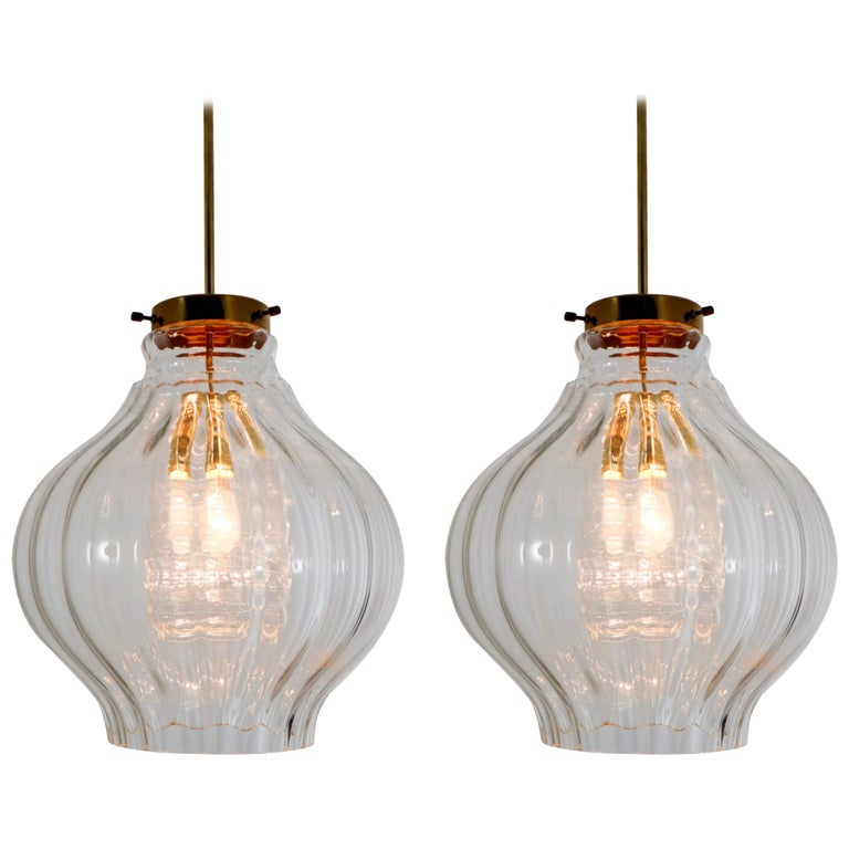 Pair of Midcentury Pendants, in Glass and Brass Europe, 1960s For Sale