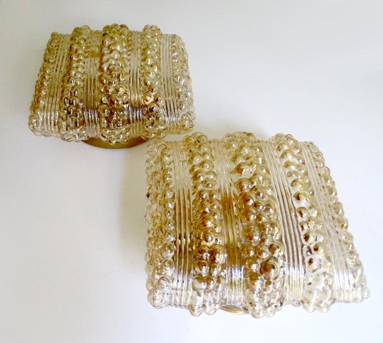 Pair Midcentury Limburg Cushion Shape Bubble Glass Sconces Wall Lights, 1960s For Sale 3