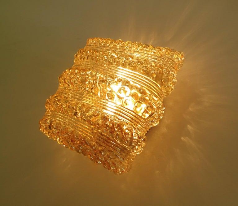 Pair Midcentury Limburg Cushion Shape Bubble Glass Sconces Wall Lights, 1960s For Sale 6
