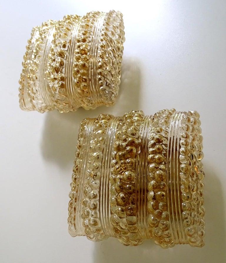 Pair Midcentury Limburg Cushion Shape Bubble Glass Sconces Wall Lights, 1960s For Sale 7