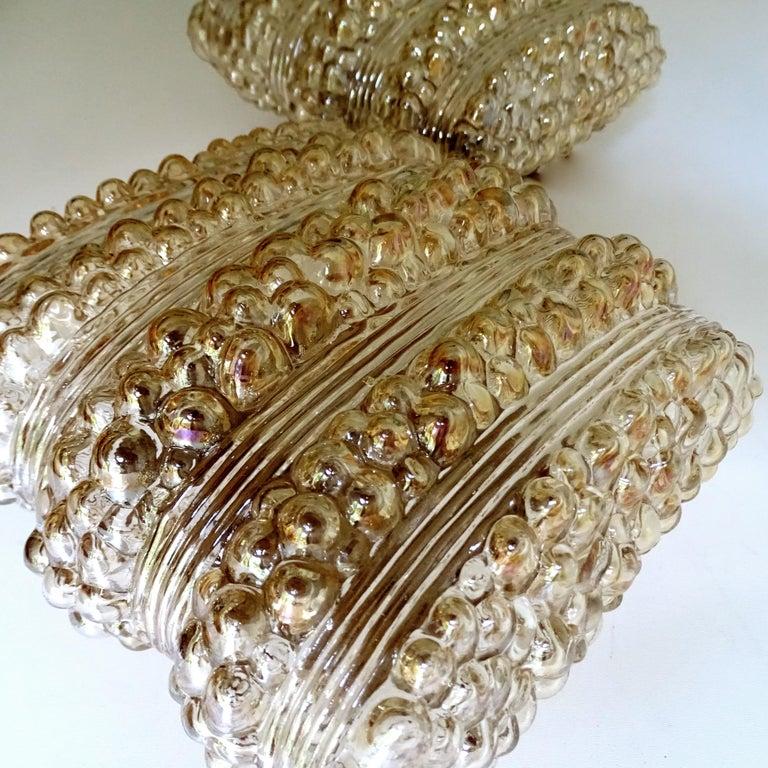 Pair Midcentury Limburg Cushion Shape Bubble Glass Sconces Wall Lights, 1960s For Sale 8
