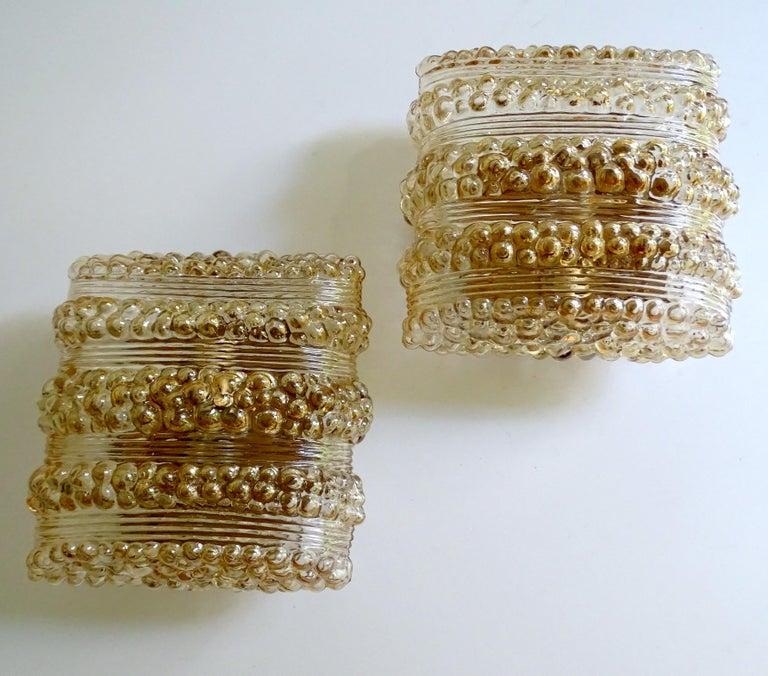European Pair Midcentury Limburg Cushion Shape Bubble Glass Sconces Wall Lights, 1960s For Sale