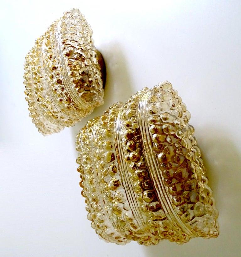 Mid-20th Century Pair Midcentury Limburg Cushion Shape Bubble Glass Sconces Wall Lights, 1960s For Sale