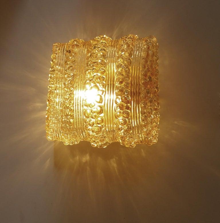 Steel Pair Midcentury Limburg Cushion Shape Bubble Glass Sconces Wall Lights, 1960s For Sale