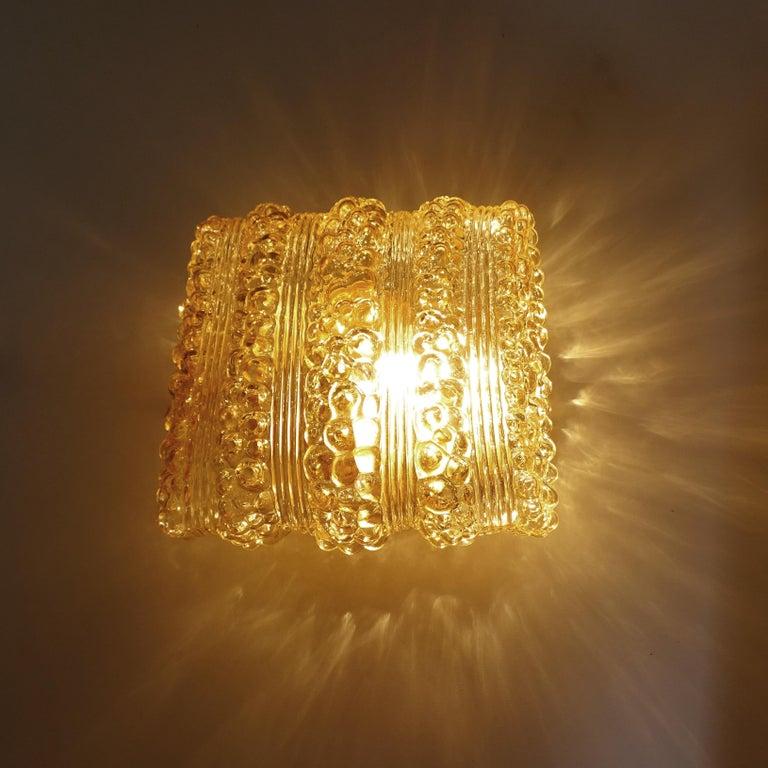 Pair Midcentury Limburg Cushion Shape Bubble Glass Sconces Wall Lights, 1960s For Sale 2