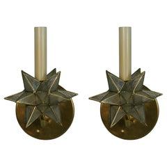 Pair Midcentury Star Capiz Shell Sconces (2 pair available)