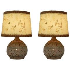 Pair of Midcentury Table Lamps Studio Art Pierced Pottery