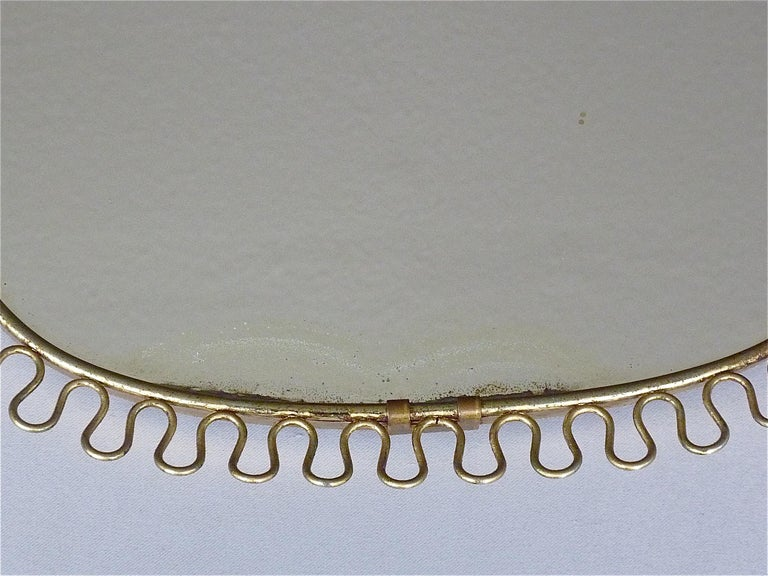 Midcentury Wall Mirrors by Josef Frank for Svenskt Tenn Sweden Brass 1950s, Pair For Sale 2