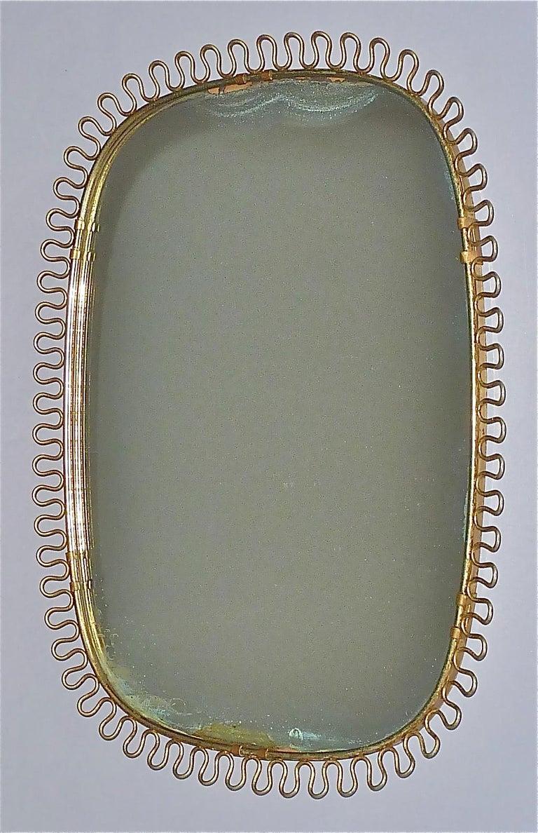 Midcentury Wall Mirrors by Josef Frank for Svenskt Tenn Sweden Brass 1950s, Pair For Sale 3