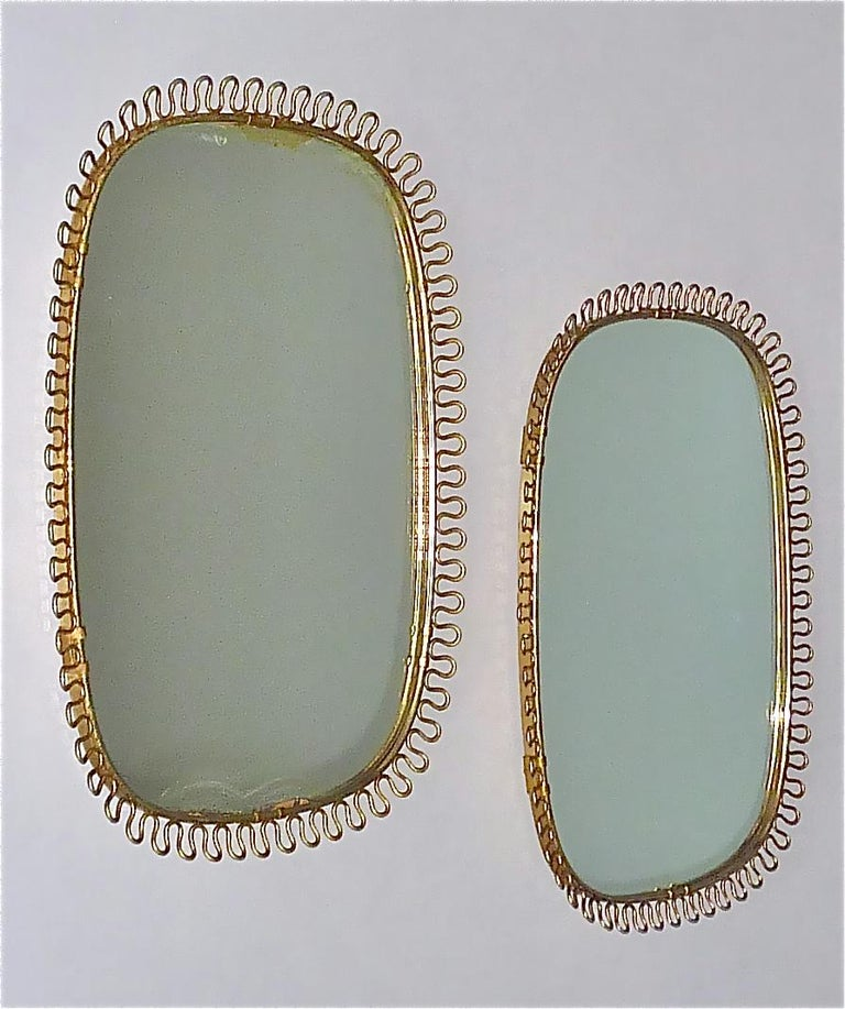 Midcentury Wall Mirrors by Josef Frank for Svenskt Tenn Sweden Brass 1950s, Pair For Sale 8