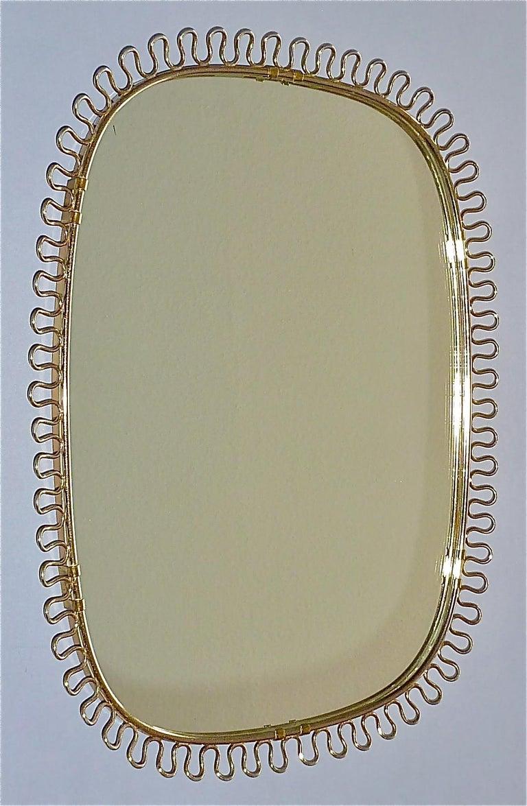 Mid-Century Modern Midcentury Wall Mirrors by Josef Frank for Svenskt Tenn Sweden Brass 1950s, Pair For Sale