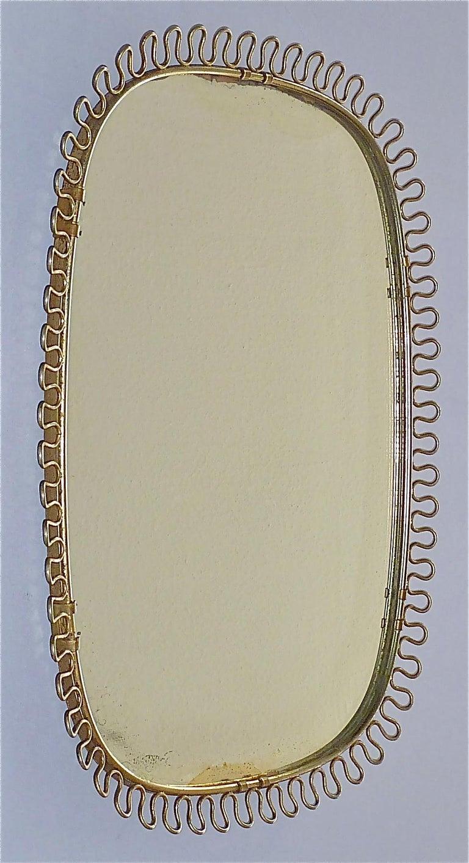 Austrian Midcentury Wall Mirrors by Josef Frank for Svenskt Tenn Sweden Brass 1950s, Pair For Sale