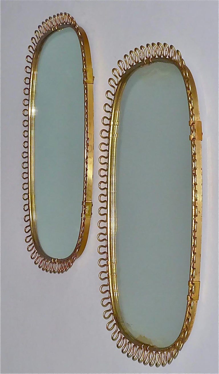 Patinated Midcentury Wall Mirrors by Josef Frank for Svenskt Tenn Sweden Brass 1950s, Pair For Sale