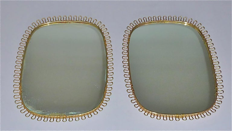 Mid-20th Century Midcentury Wall Mirrors by Josef Frank for Svenskt Tenn Sweden Brass 1950s, Pair For Sale