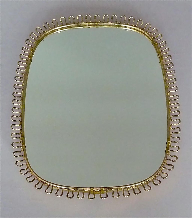 Metal Midcentury Wall Mirrors by Josef Frank for Svenskt Tenn Sweden Brass 1950s, Pair For Sale