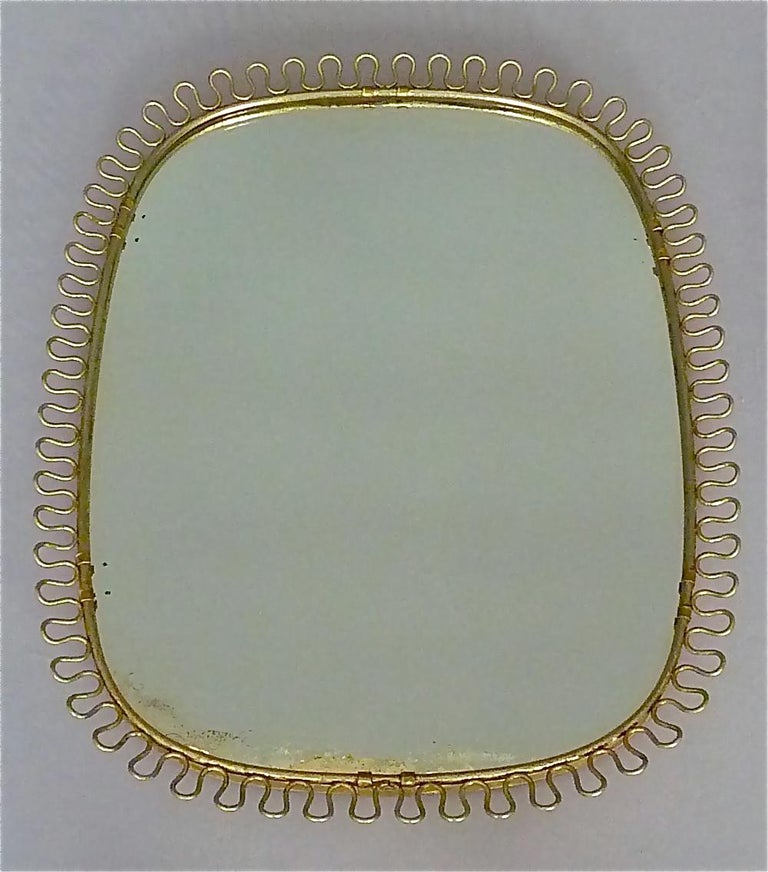 Midcentury Wall Mirrors by Josef Frank for Svenskt Tenn Sweden Brass 1950s, Pair For Sale 1