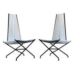 Pair Midcentury Wrought Iron String Lounge Chairs by Gunnar Birkerts