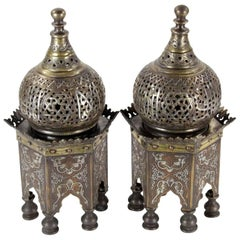 Pair of Middle Eastern Islamic Silver Damascene Inlaid Incense Burners