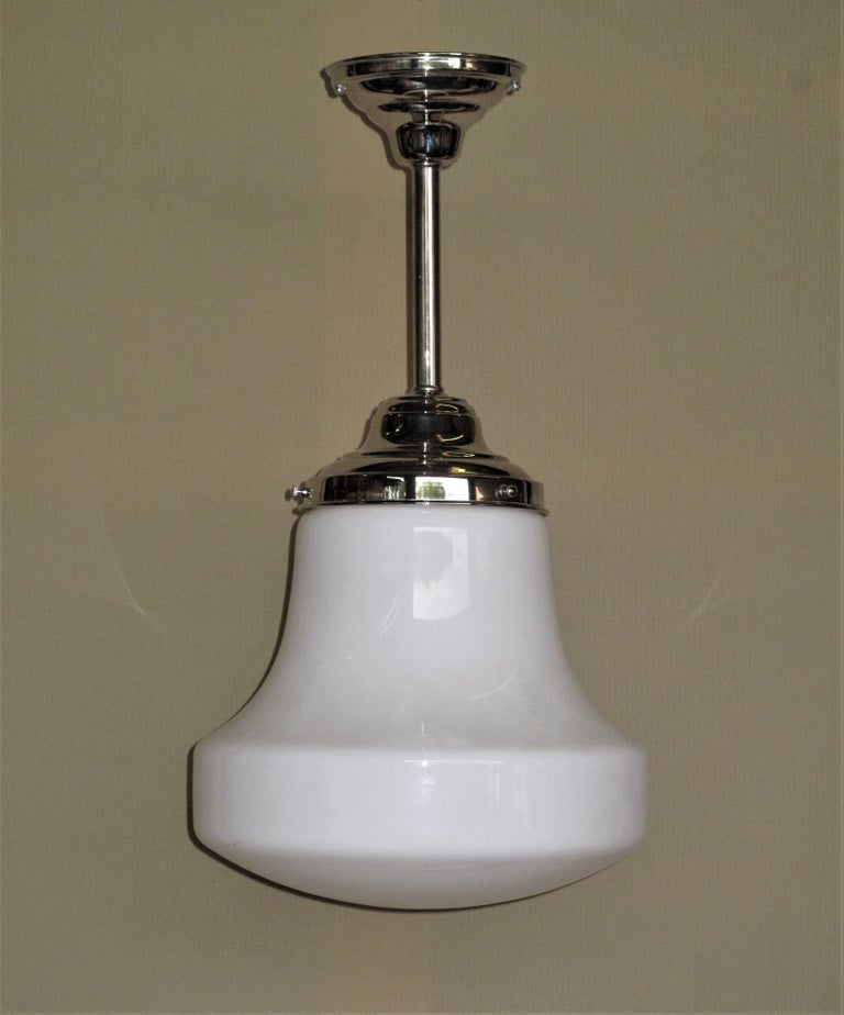 Industrial Pair of Milk Glass Fixtures with 3 Pair Available For Sale
