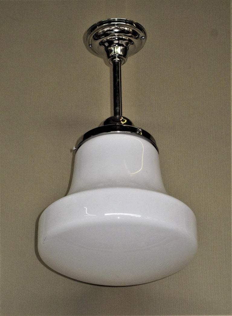Pair of Milk Glass Fixtures with 3 Pair Available In Good Condition For Sale In Prescott, AZ
