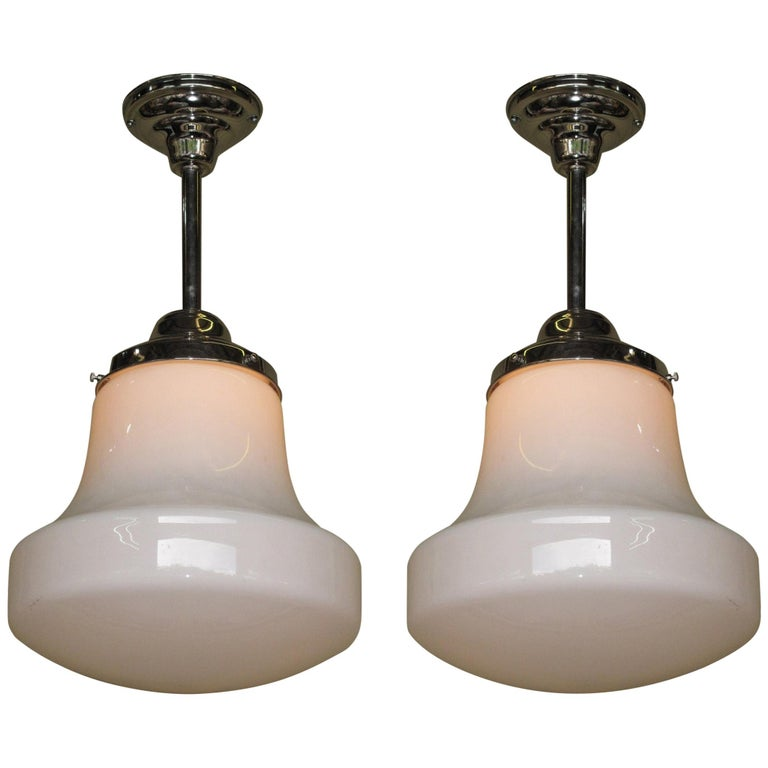 Pair of Milk Glass Fixtures with 3 Pair Available For Sale