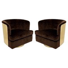 Pair Milo Baughman Brass Barrel Back Chairs, Restored
