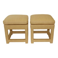 Pair of Milo Baughman Rafia Parson Table Stools for Bloomingdales, 1979