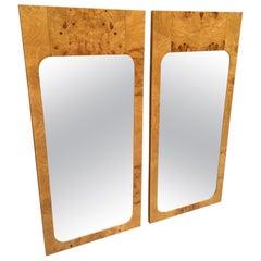 Pair of Milo Baughman Style Burl Wood Mirrors