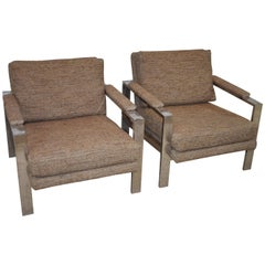 Pair of Milo Baughman Style Lounge Chairs Wide Chrome Flat Bar Frame
