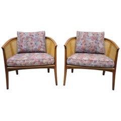 Pair of Milo Baughman Thayer Coggin Cane Barrel Back Walnut Club Lounge Chairs