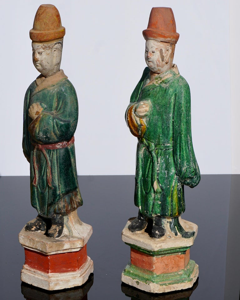 Chinese Pair of Ming Dynasty Terracotta Tomb Dignitaries For Sale