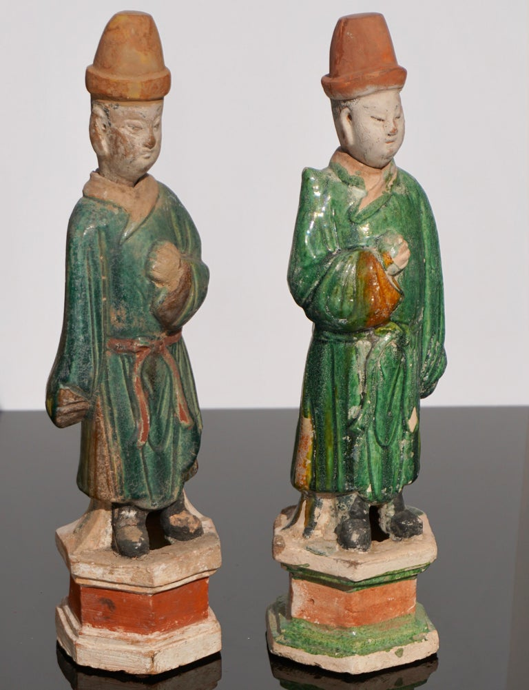 Fired Pair of Ming Dynasty Terracotta Tomb Dignitaries For Sale