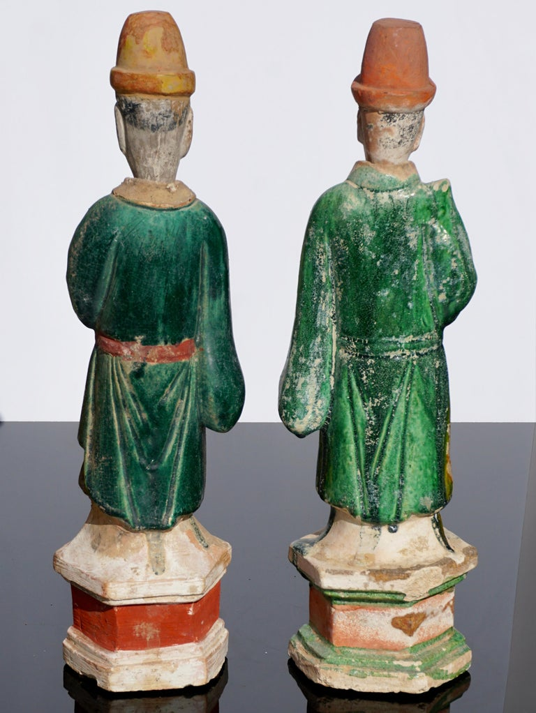 Pair of Ming Dynasty Terracotta Tomb Dignitaries In Good Condition For Sale In Dallas, TX